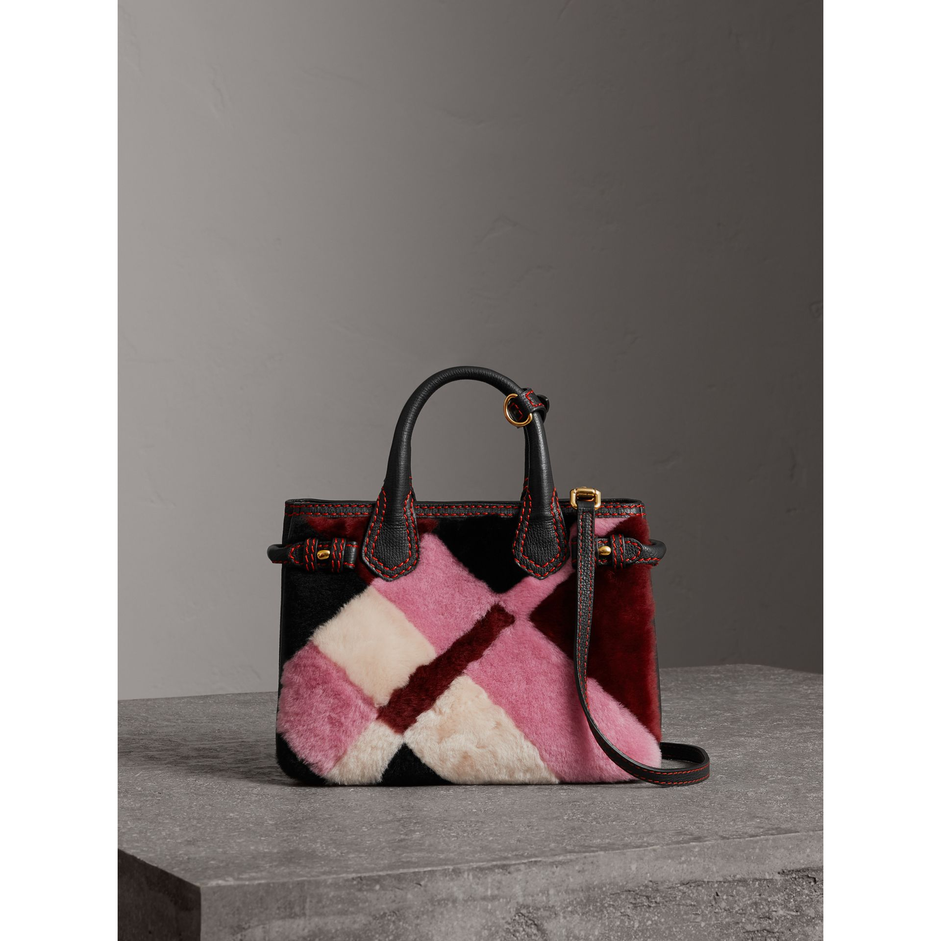 The Baby Banner in Patchwork Check Shearling and Leather in Pink - Women | Burberry Australia - gallery image 7
