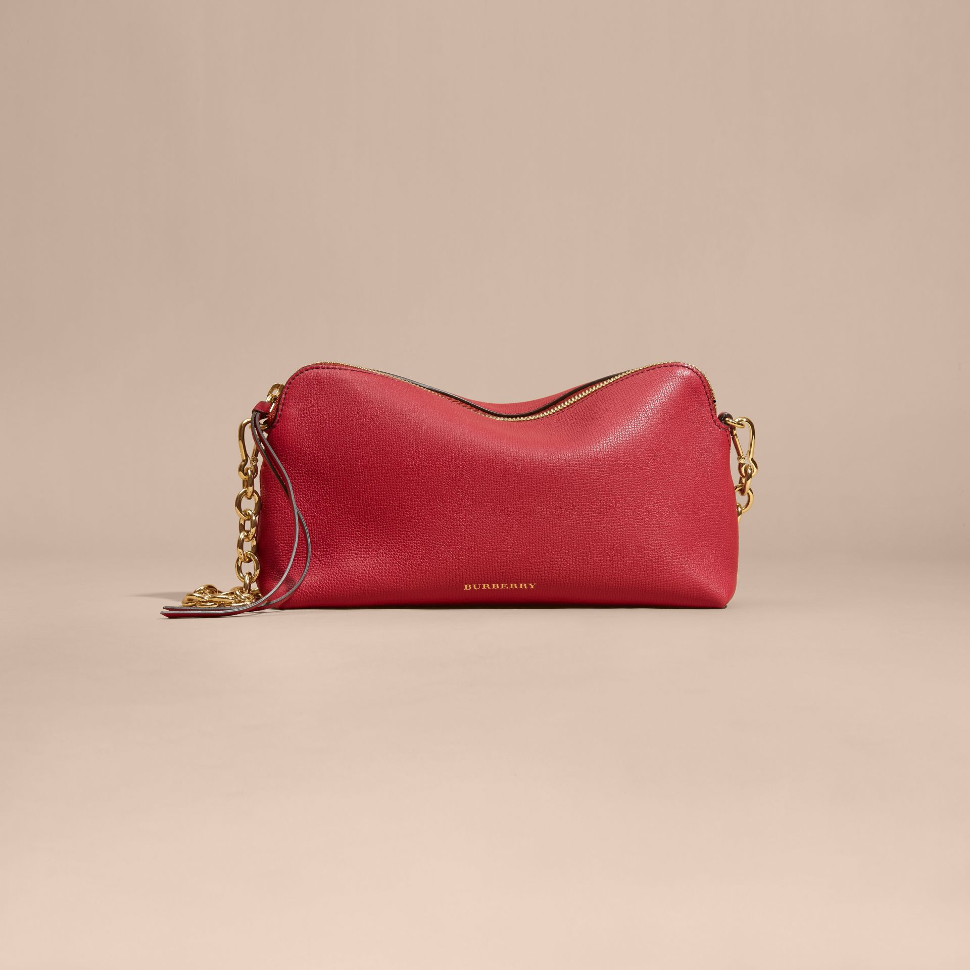 Grainy Leather Clutch Bag Russet Red - gallery image 9