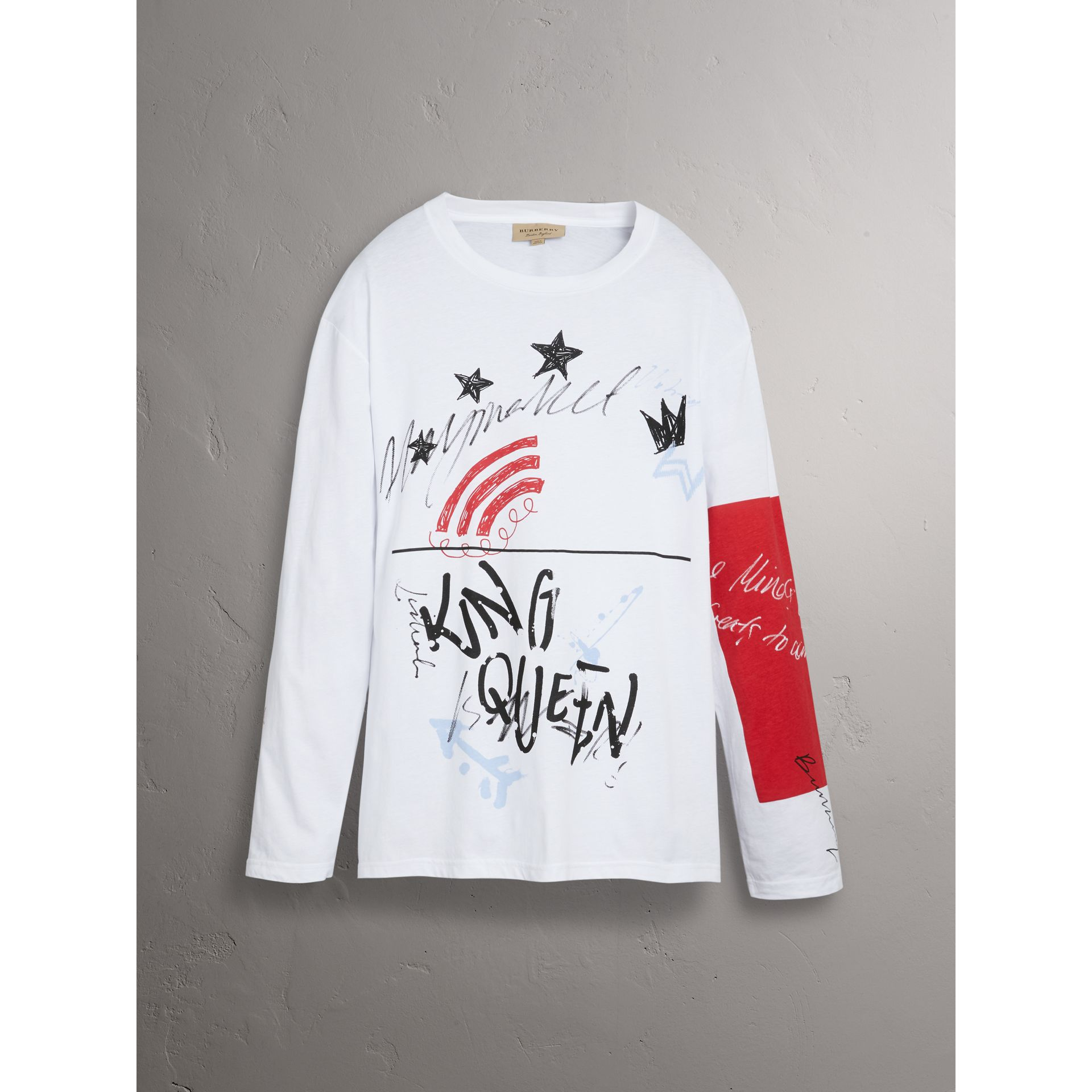 Burberry x Kris Wu Long-sleeve Printed Cotton Top in White - Men | Burberry - gallery image 3