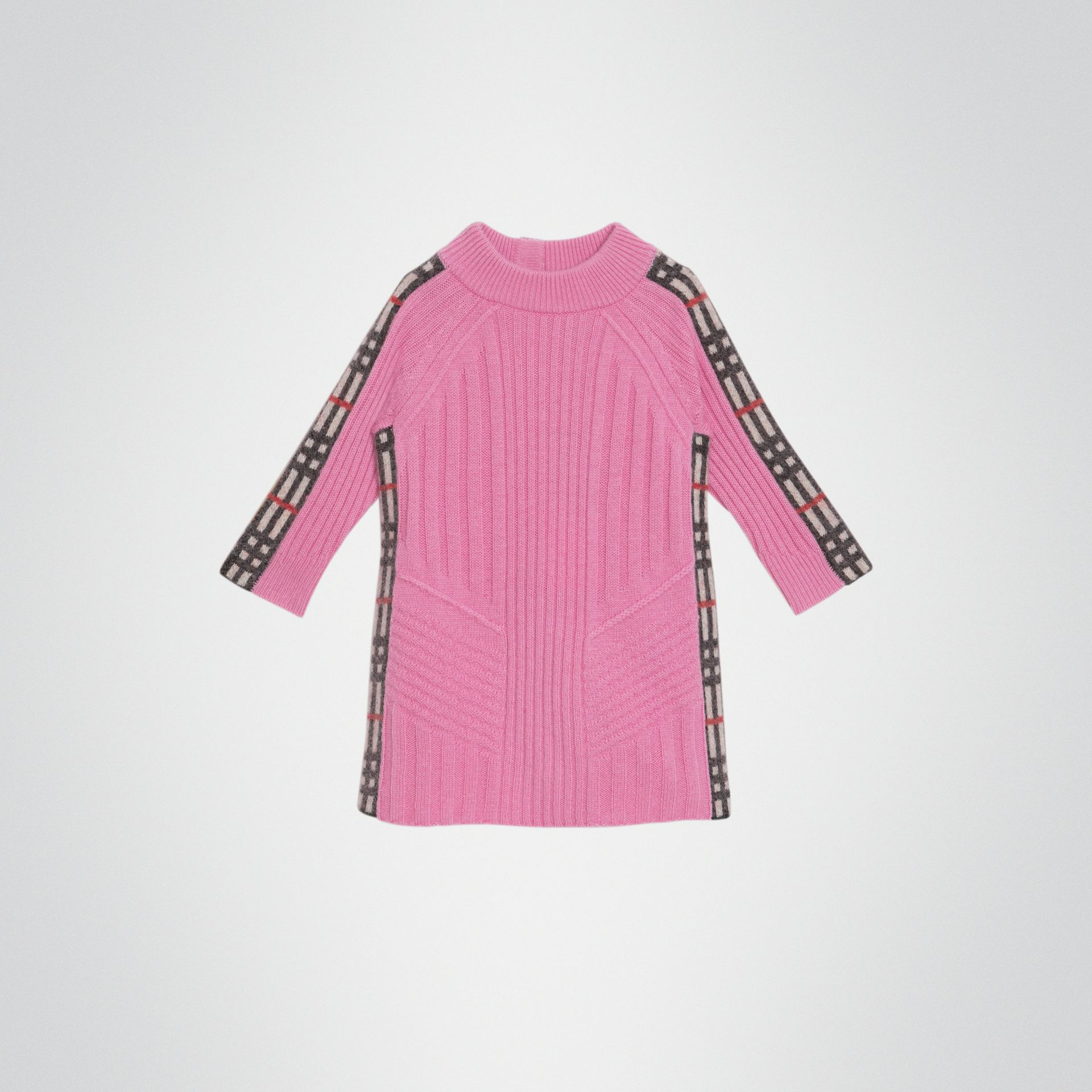 Check Detail Wool Cashmere Dress in Rose Pink - Children | Burberry - gallery image 0
