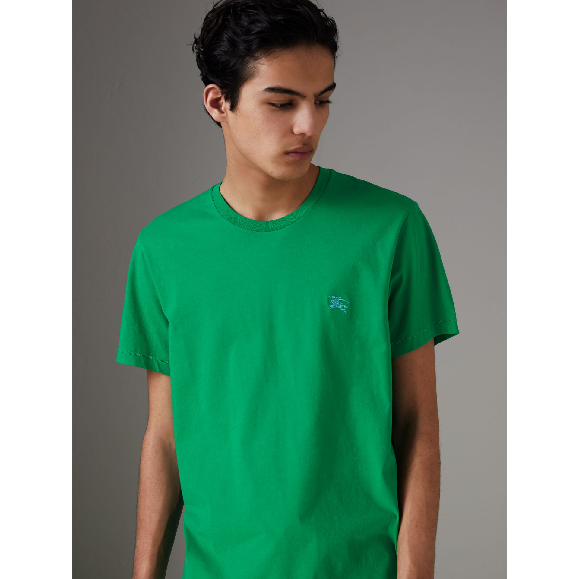 Cotton Jersey T-shirt in Bright Green - Men | Burberry - gallery image 0