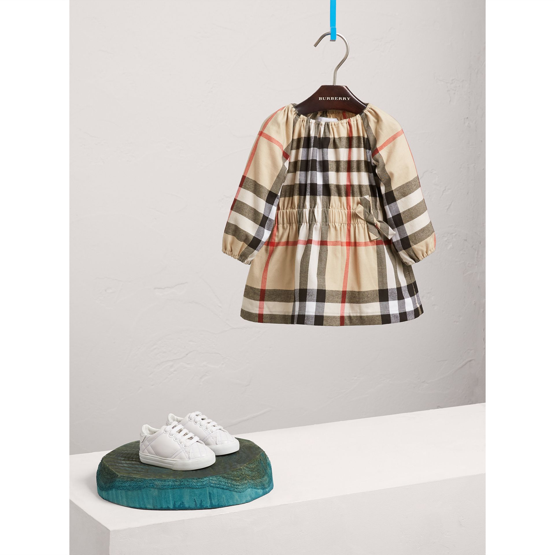 Gathered Check Cotton Flannel Dress in New Classic | Burberry - gallery image 1