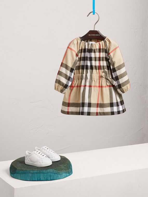 Gathered Check Cotton Flannel Dress in New Classic