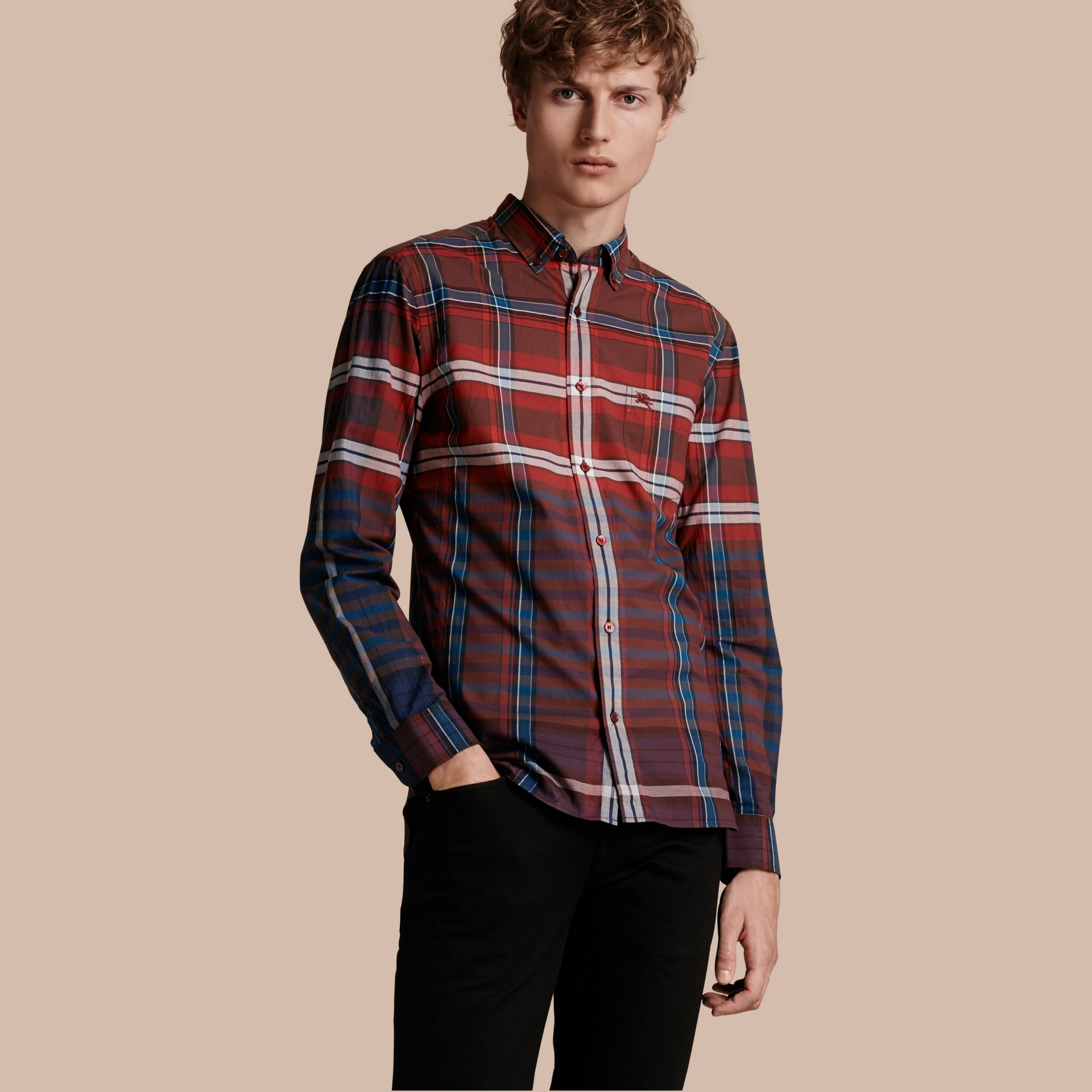 Burgundy red Button-down Collar Check Cotton Shirt Burgundy Red - gallery image 1