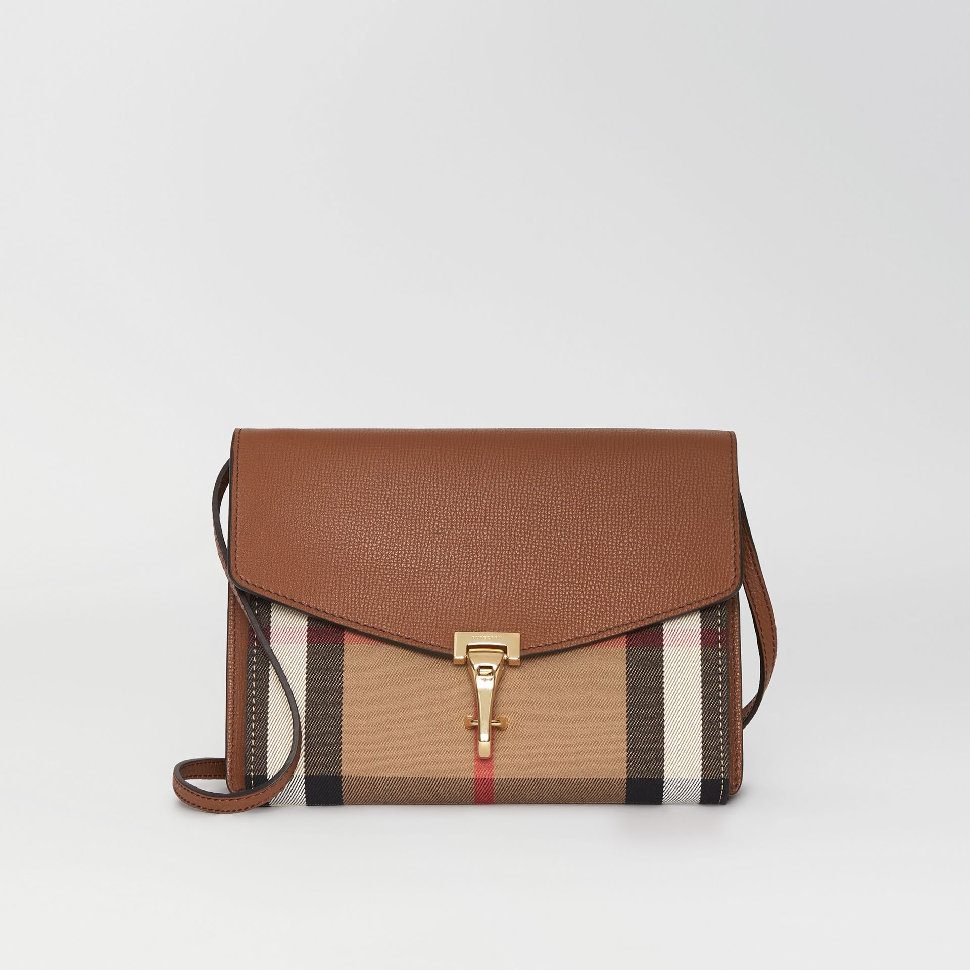 Small Leather and House Check Crossbody Bag in Tan - Women | Burberry Hong Kong - gallery image 0