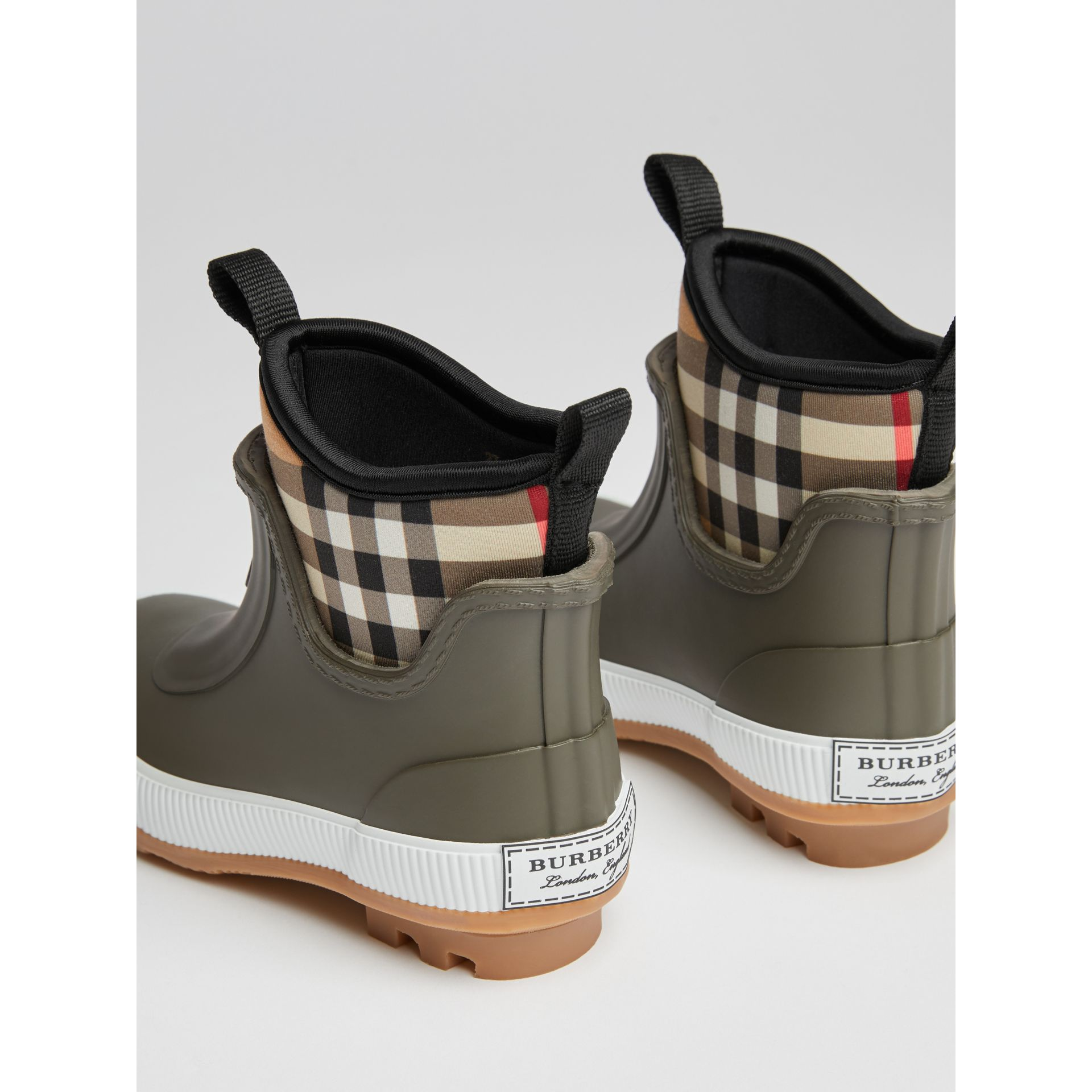 Vintage Check Neoprene and Rubber Rain Boots in Military Green | Burberry United Kingdom - gallery image 2