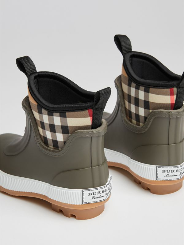 Vintage Check Neoprene and Rubber Rain Boots in Military Green | Burberry Canada - cell image 2