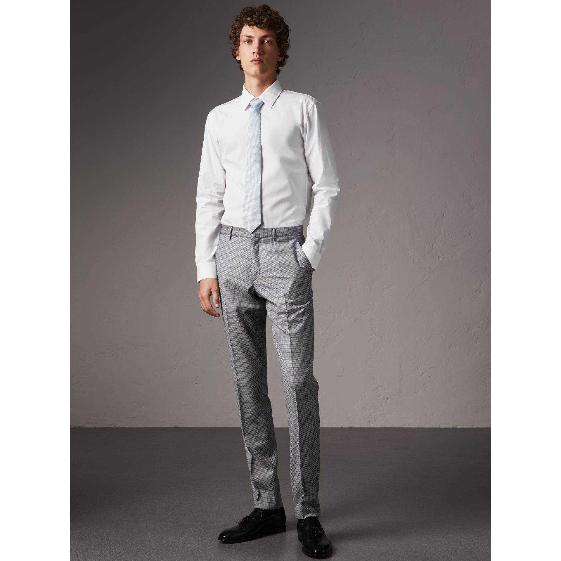 Slim Fit Cotton Poplin Shirt in White - Men | Burberry - gallery image 1