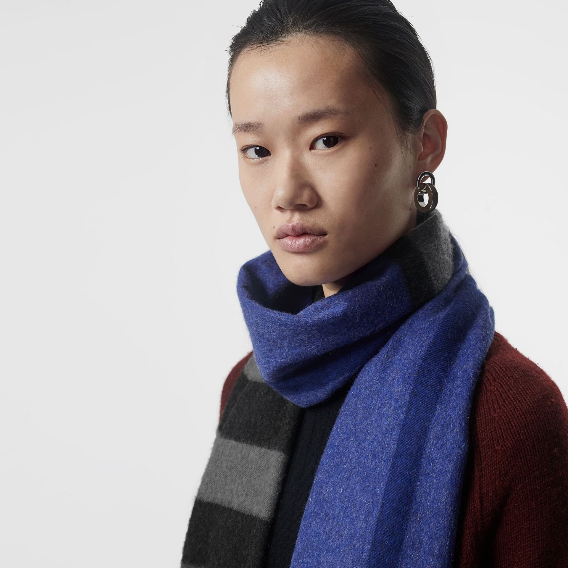 Colour Block Check Cashmere Scarf in Bright Cobalt | Burberry United States - gallery image 5