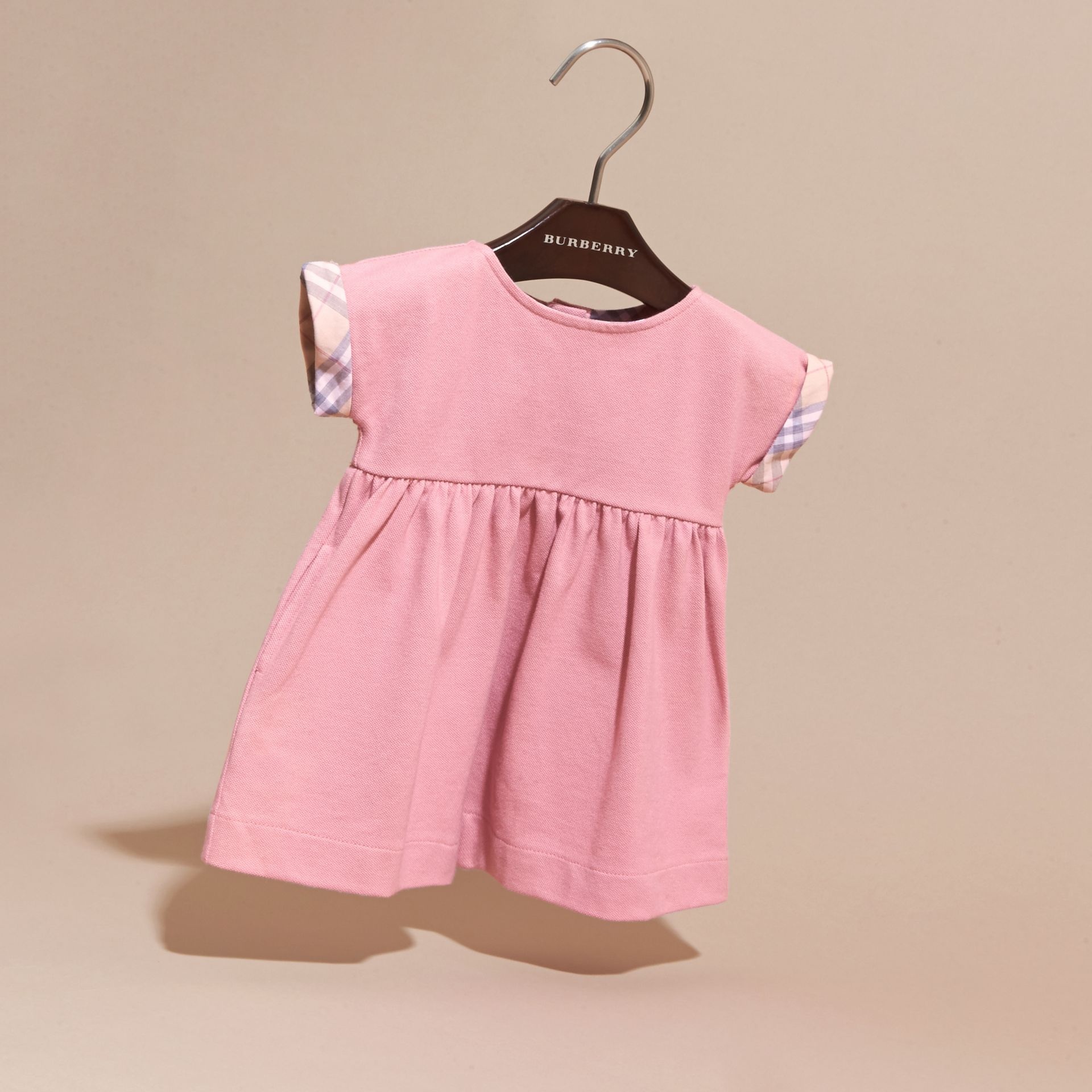 Short-sleeved Cotton Piqué Dress with Check Detail - Children | Burberry - gallery image 3