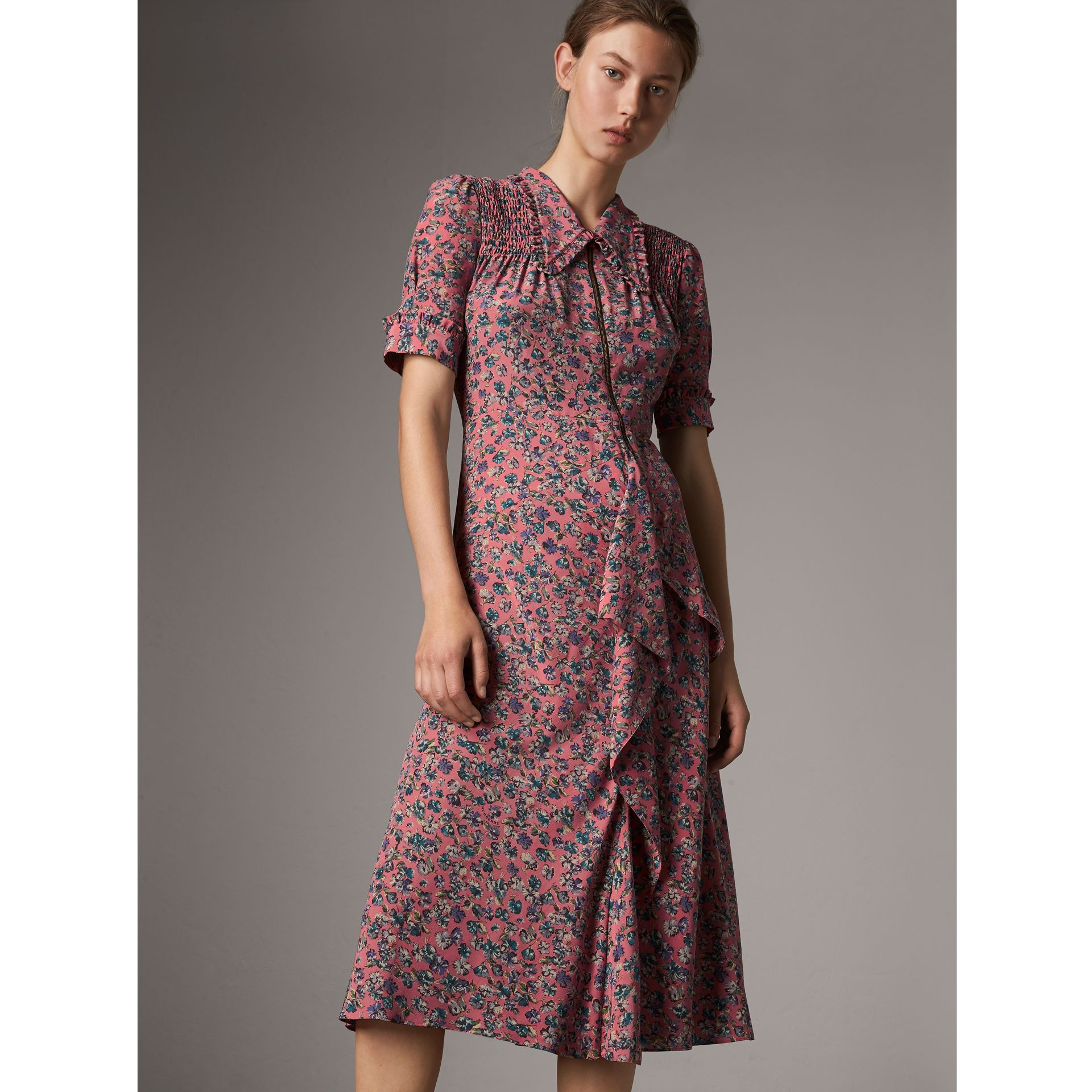 Floral Silk Tea Dress in Pale Rose - Women | Burberry - gallery image 1
