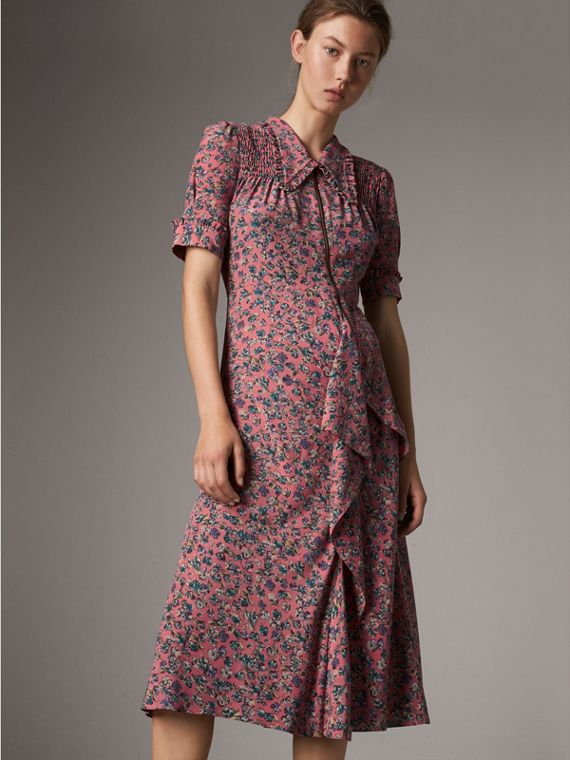 Vestido tea dress de seda floral (Rosa Claro)
