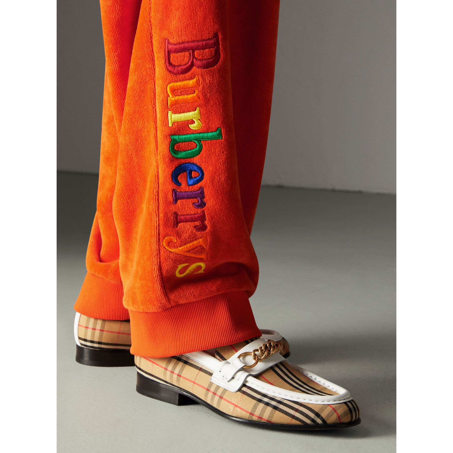 Archive Logo Towelling Sweatpants in Tangerine - Women | Burberry - gallery image 1