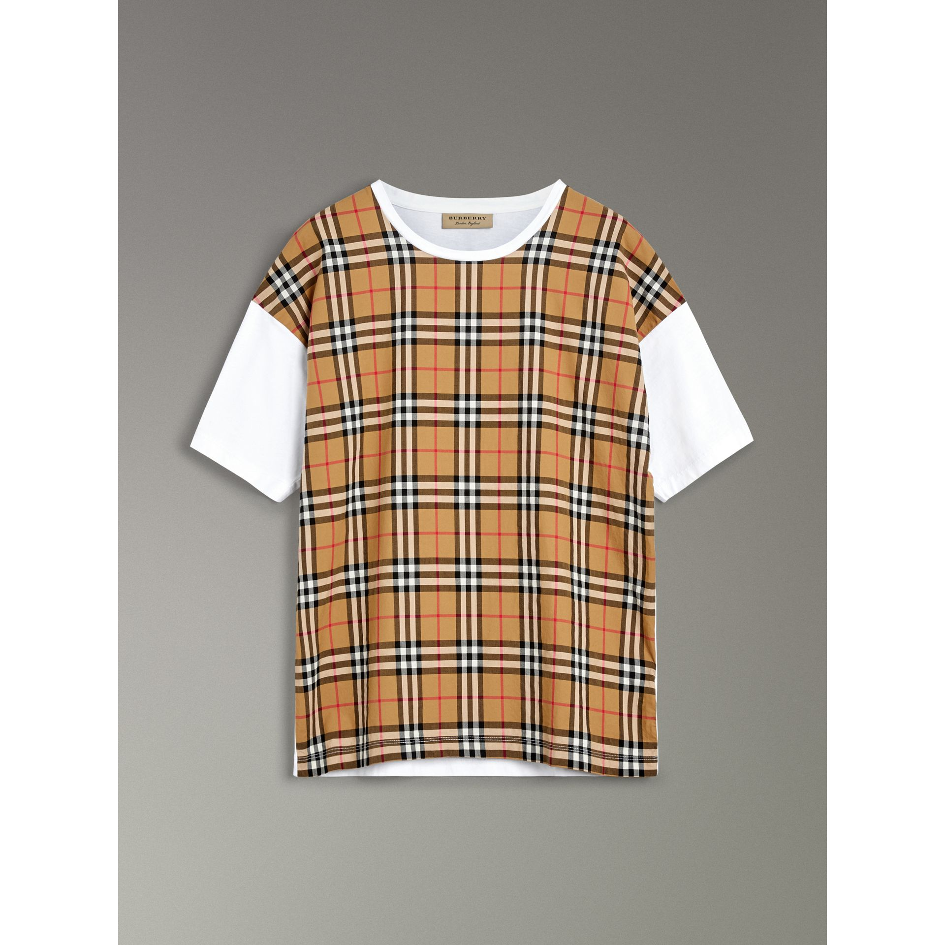 Vintage Check Panel Cotton T-shirt in White - Men | Burberry Singapore - gallery image 3