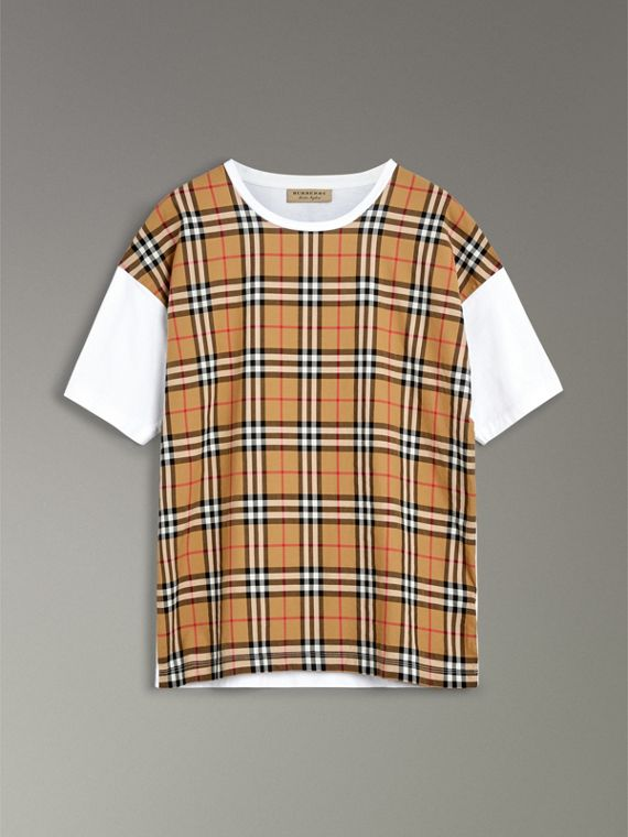 Vintage Check Panel Cotton T-shirt in White - Men | Burberry Singapore - cell image 3