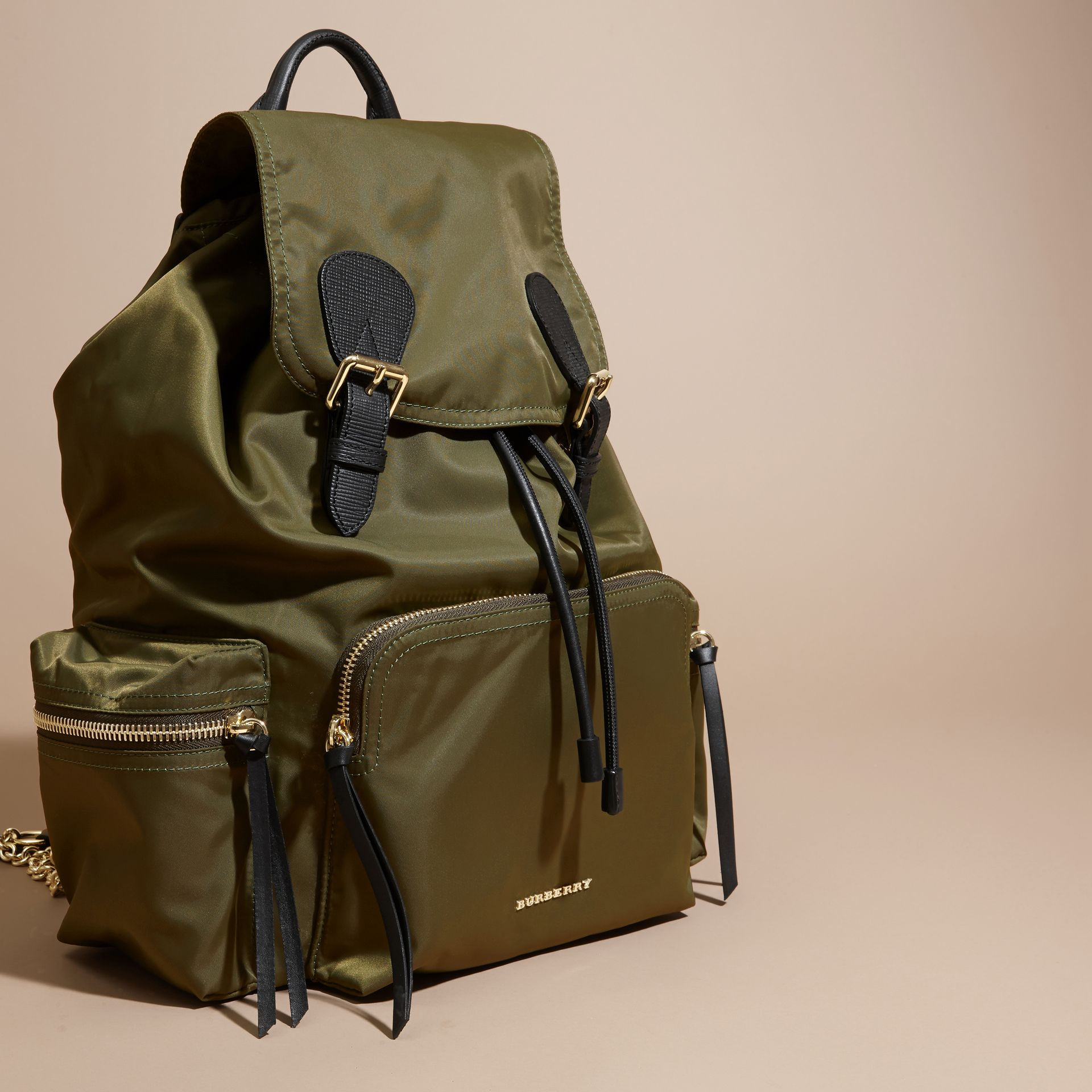 The Large Rucksack in Technical Nylon and Leather Canvas Green - gallery image 8