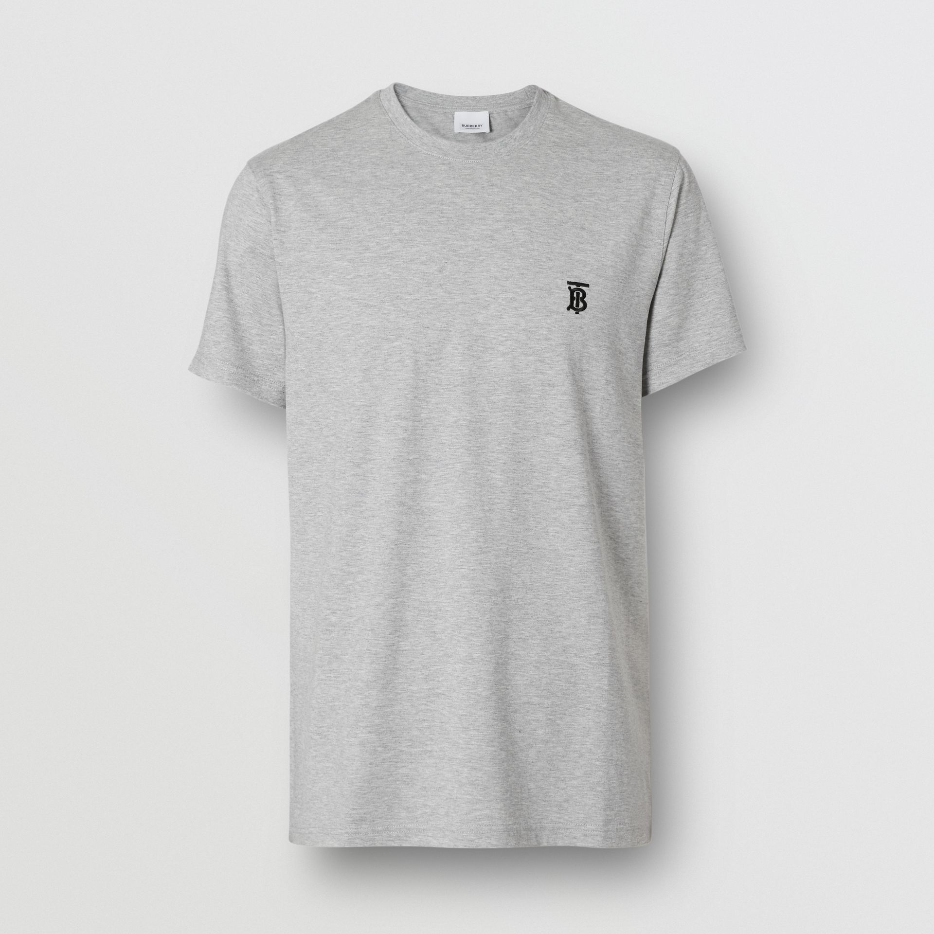 Monogram Motif Cotton T-shirt in Pale Grey Melange - Men | Burberry - gallery image 3