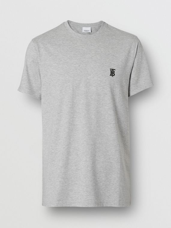 Monogram Motif Cotton T-shirt in Pale Grey Melange