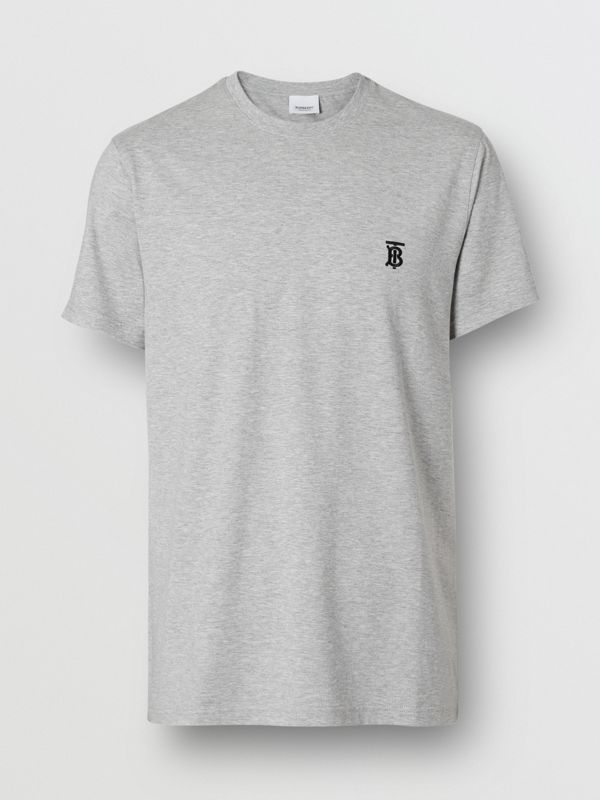 Monogram Motif Cotton T-shirt in Pale Grey Melange - Men | Burberry - cell image 3