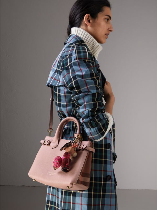 The Small Banner in Leather and House Check in Pale Orchid - Women | Burberry United Kingdom - cell image 3