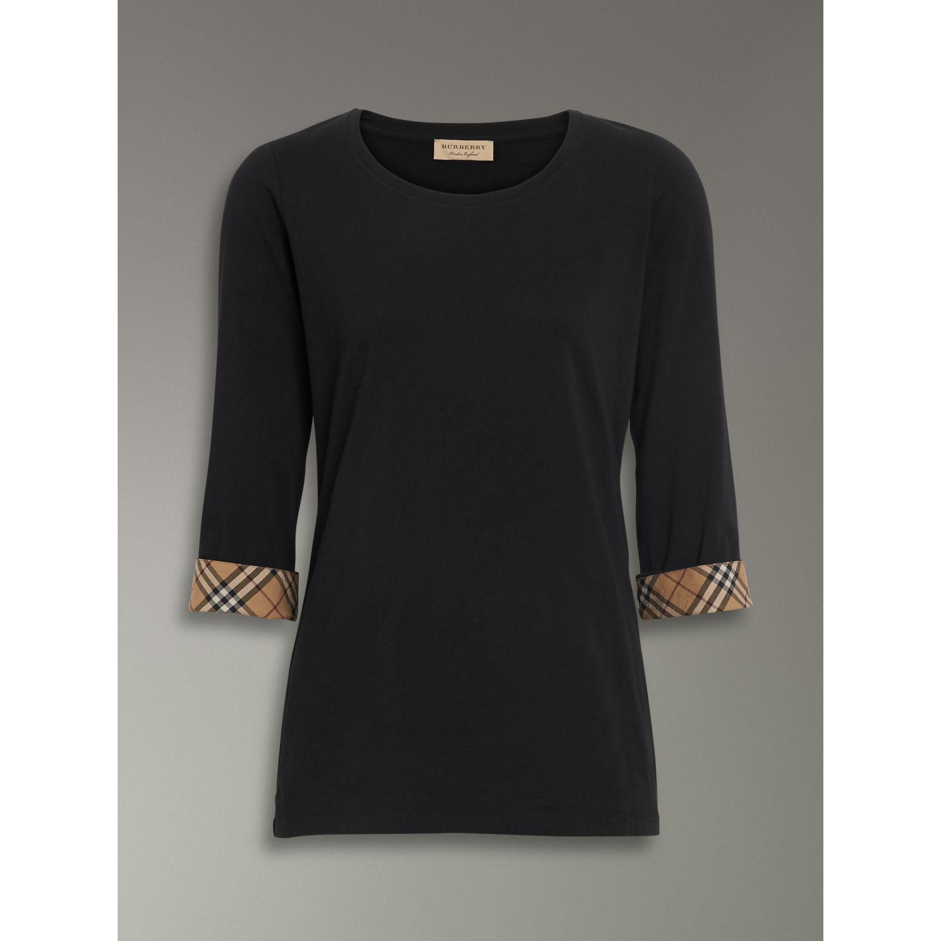 Check Detail Stretch Cotton Top in Black - Women | Burberry - gallery image 3