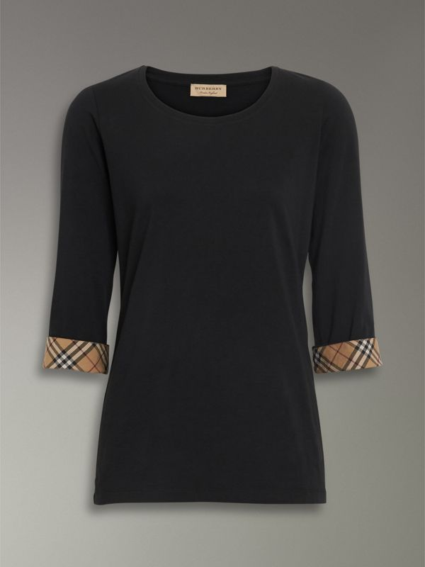 Check Detail Stretch Cotton Top in Black - Women | Burberry - cell image 3