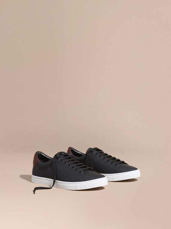Perforated Check Leather Trainers Black/deep Claret Melange
