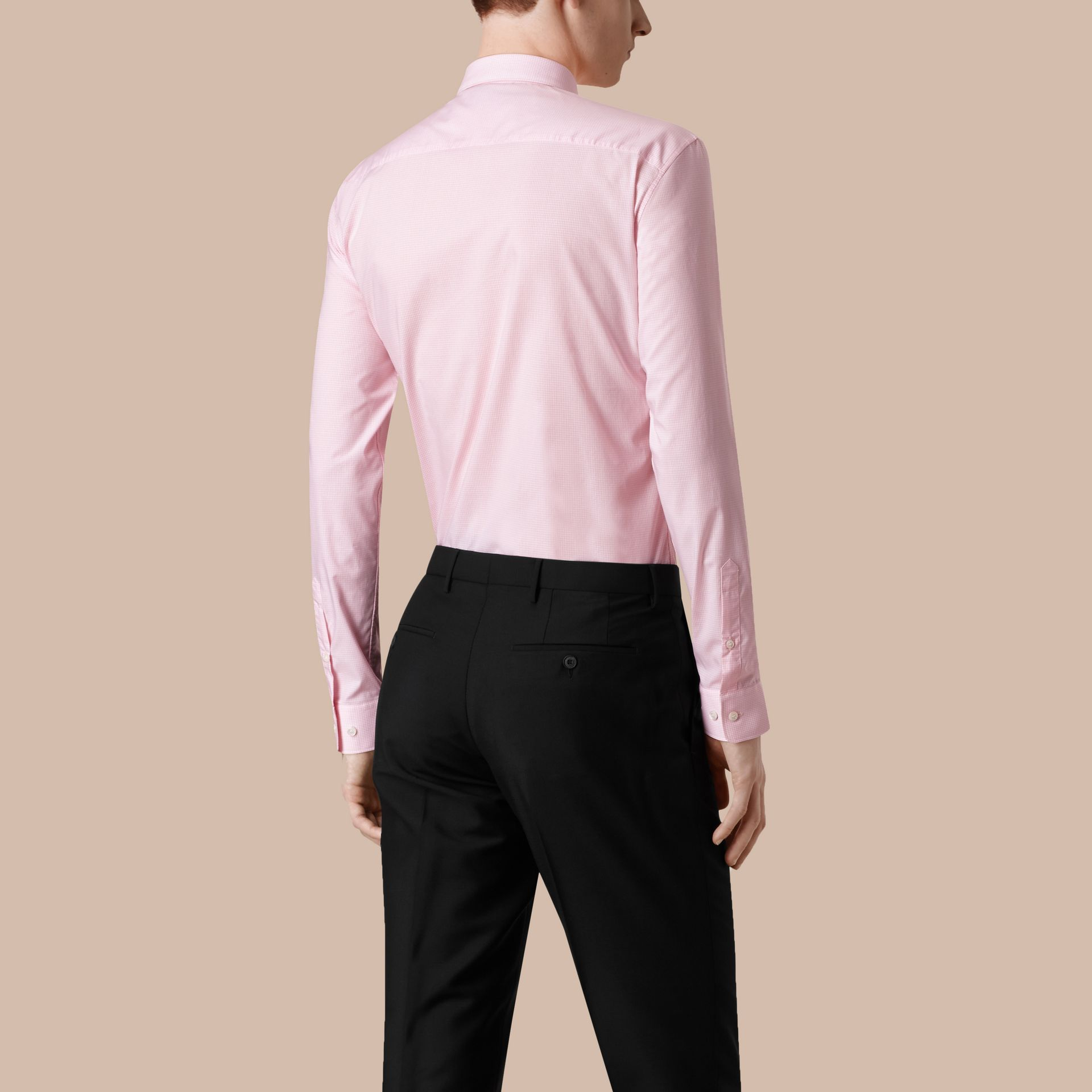 Modern Fit Gingham Cotton Poplin Shirt City Pink - gallery image 3