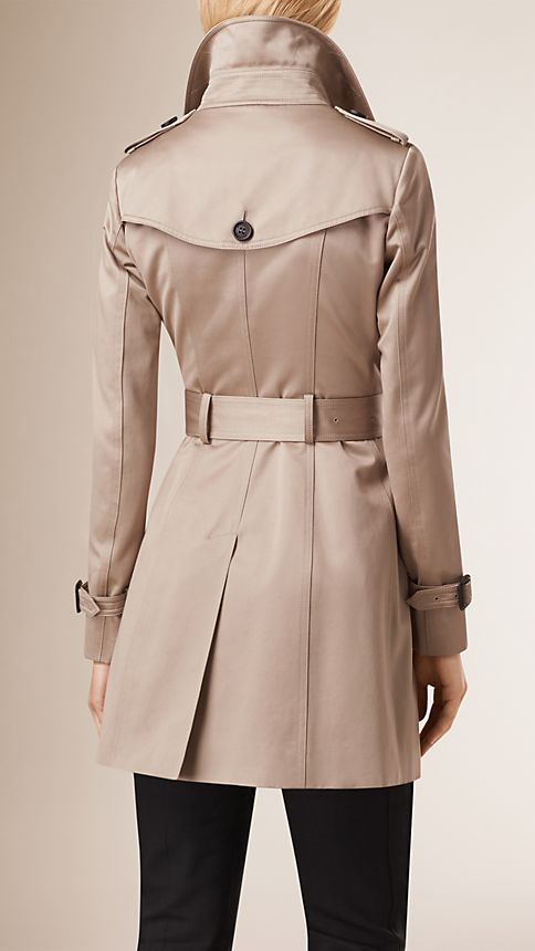 Stone Cotton Sateen Trench Coat - Image 3
