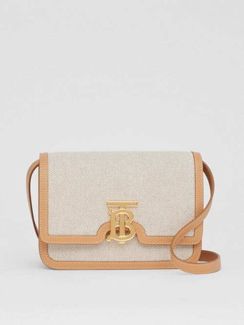 Burberry Canvases Small Two-tone Canvas and Leather TB Bag