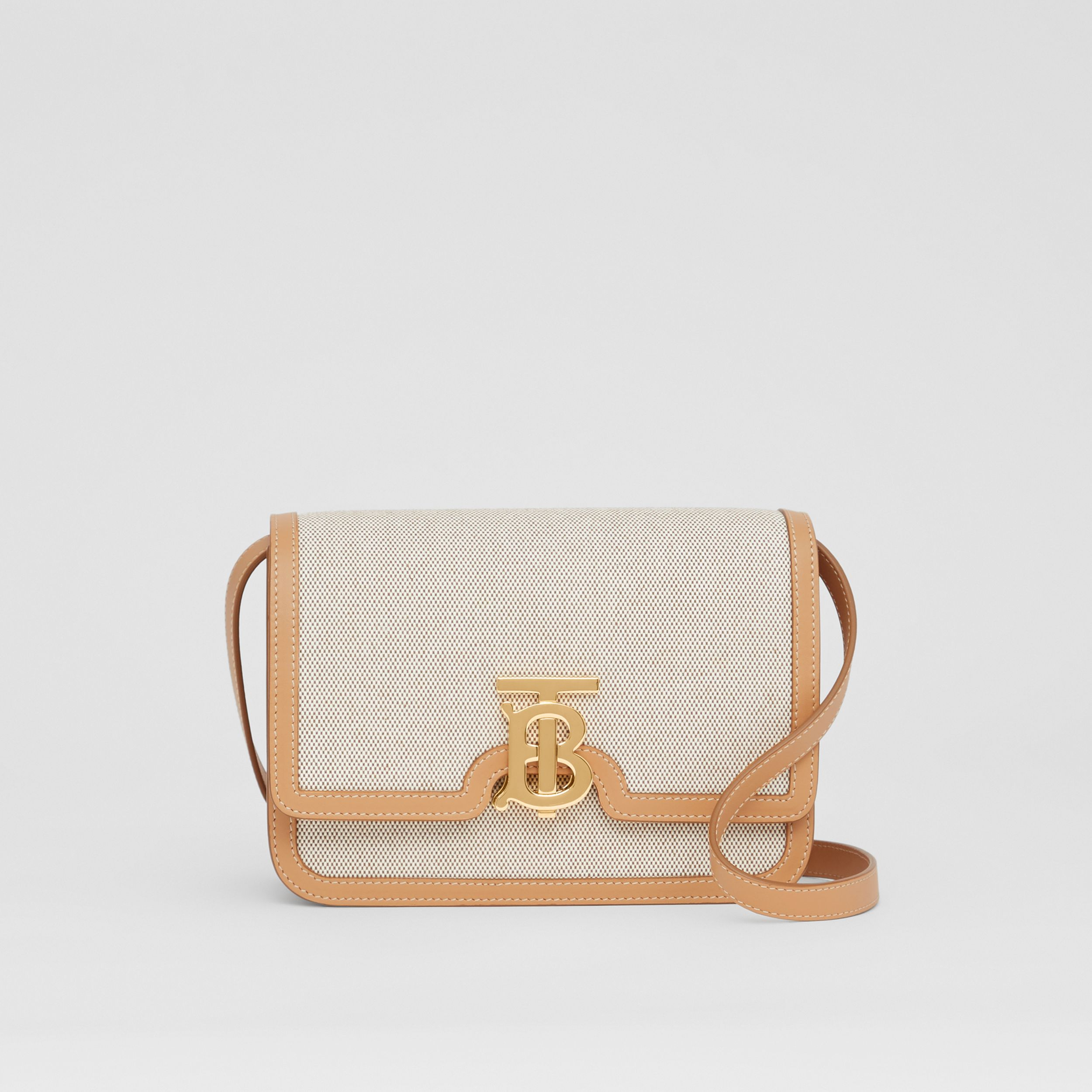 Small Two-tone Canvas and Leather TB Bag in Soft Fawn/warm Sand - Women | Burberry United Kingdom - 1