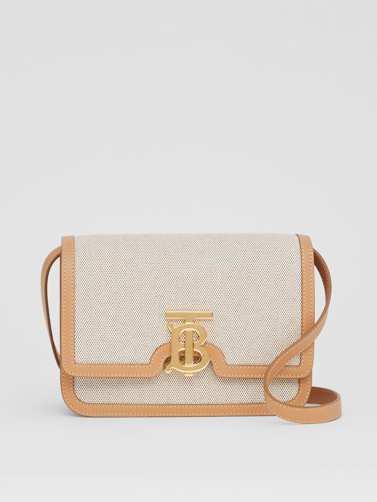 Small Two-tone Canvas and Leather TB Bag in Soft Fawn/warm Sand