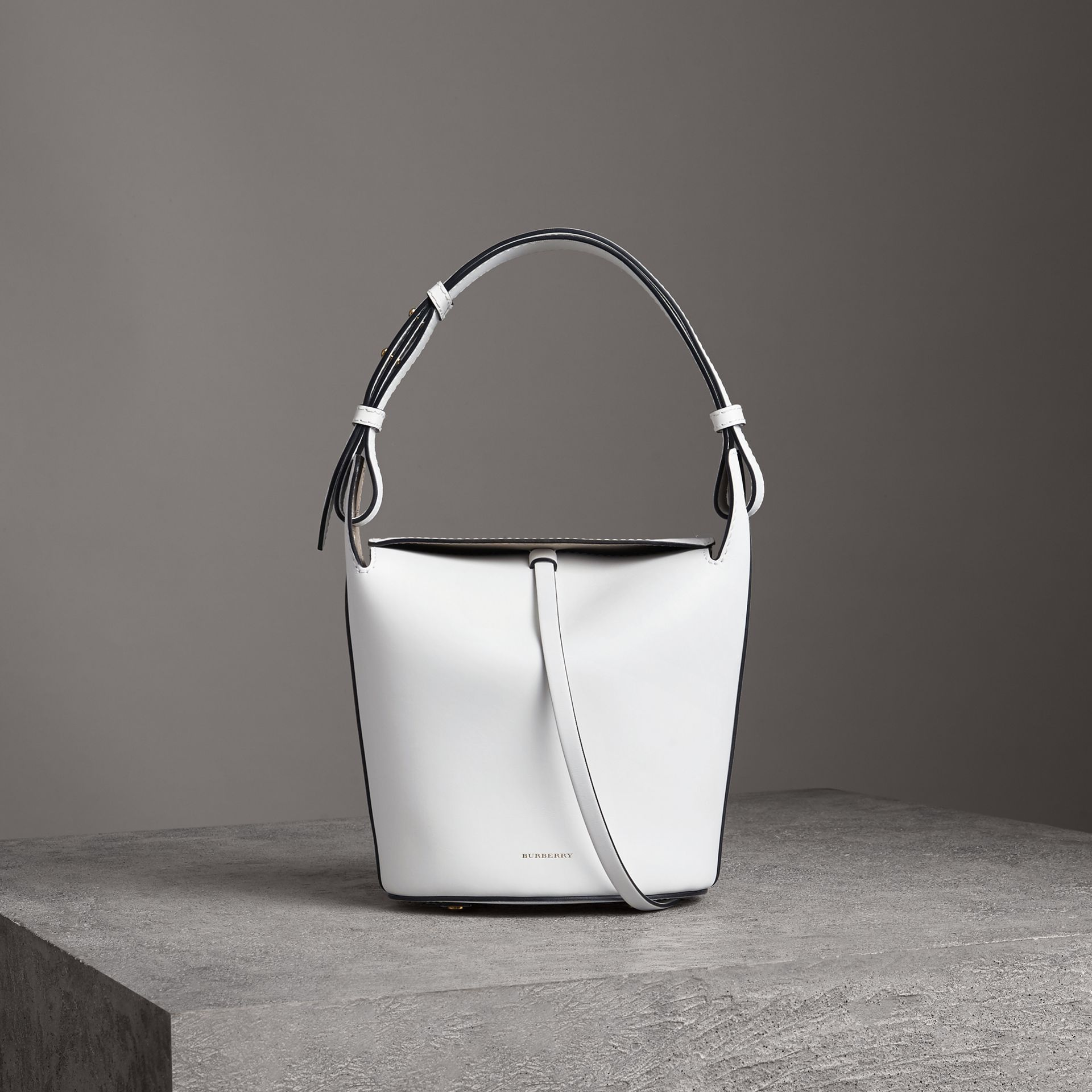 The Small Leather Bucket Bag in Chalk White - Women | Burberry - gallery image 0