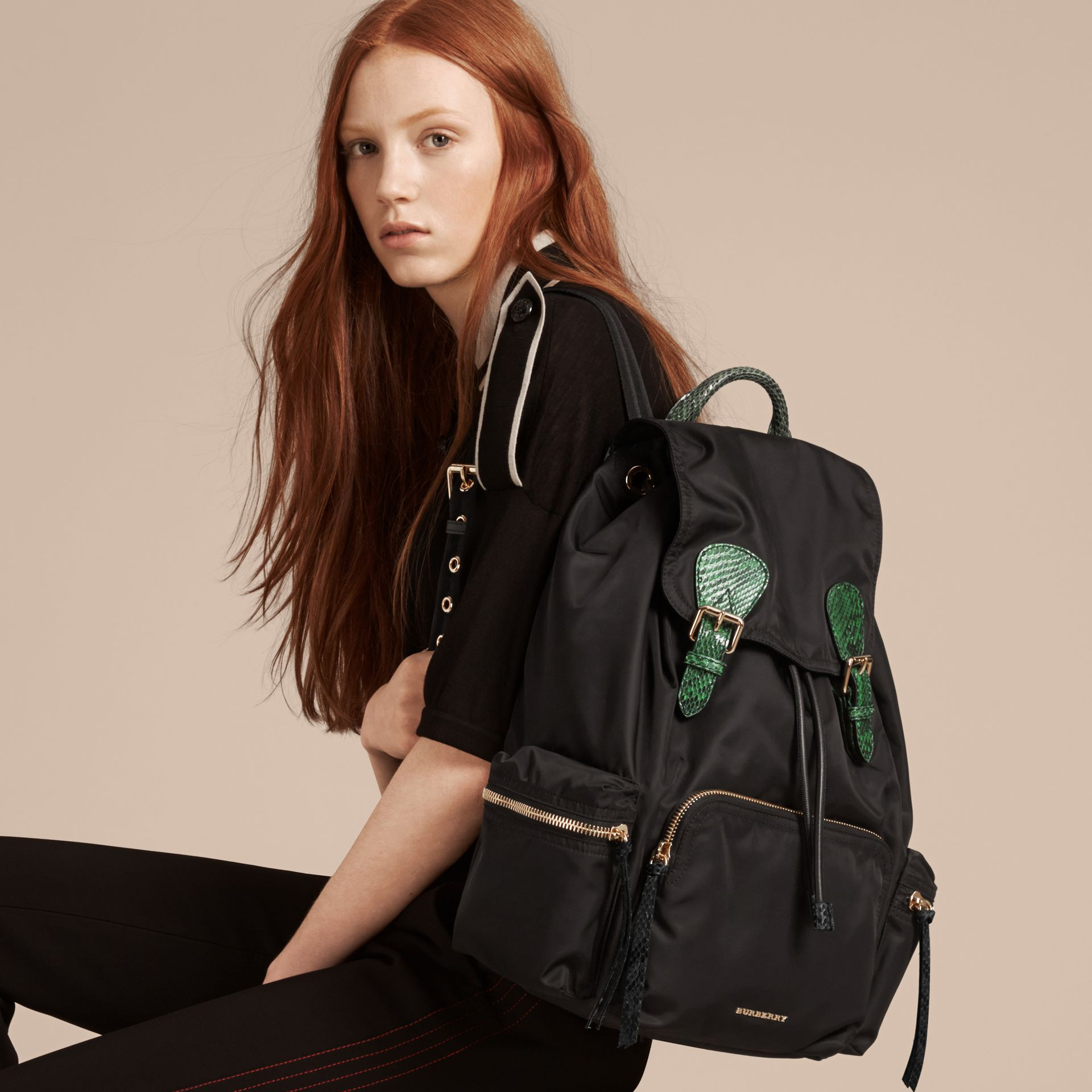 The Large Rucksack in Technical Nylon and Snakeskin in Black/bright Green - gallery image 3
