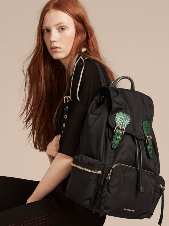 The Large Rucksack in Technical Nylon and Snakeskin in Black/bright Green - cell image 2