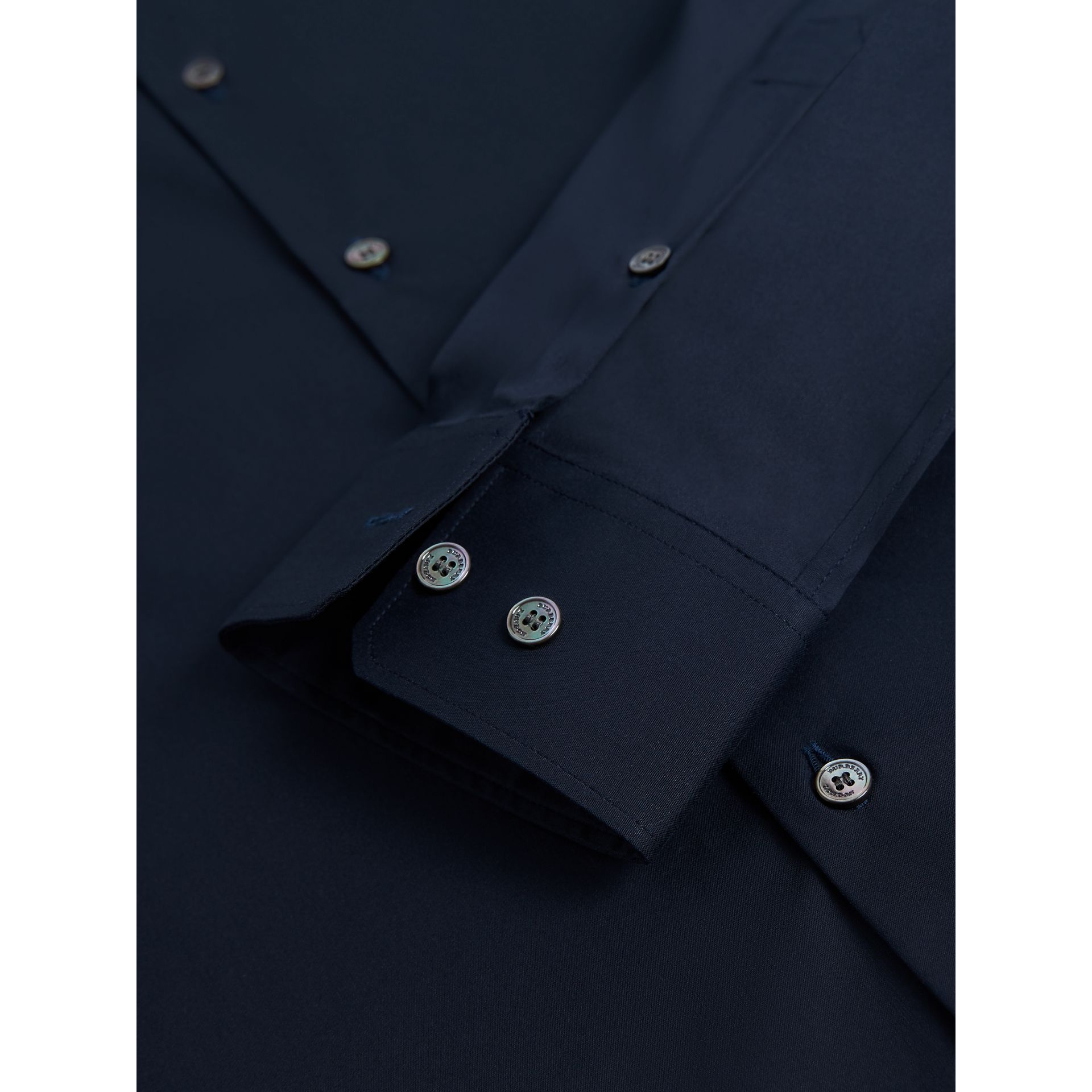 Slim Fit Stretch Cotton Shirt in Navy - Men | Burberry United States - gallery image 3