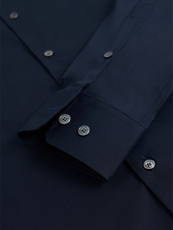 Slim Fit Stretch Cotton Shirt in Navy - Men | Burberry Canada - cell image 2