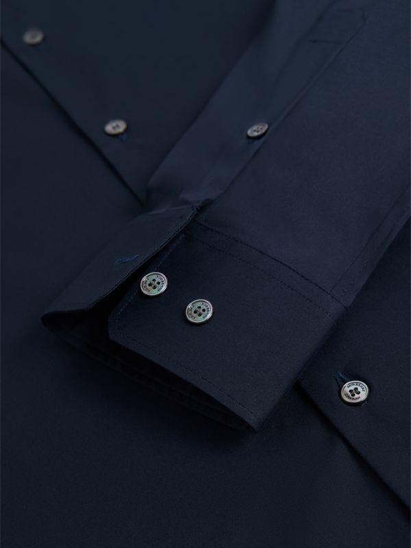 Slim Fit Stretch Cotton Shirt in Navy - Men | Burberry - cell image 2