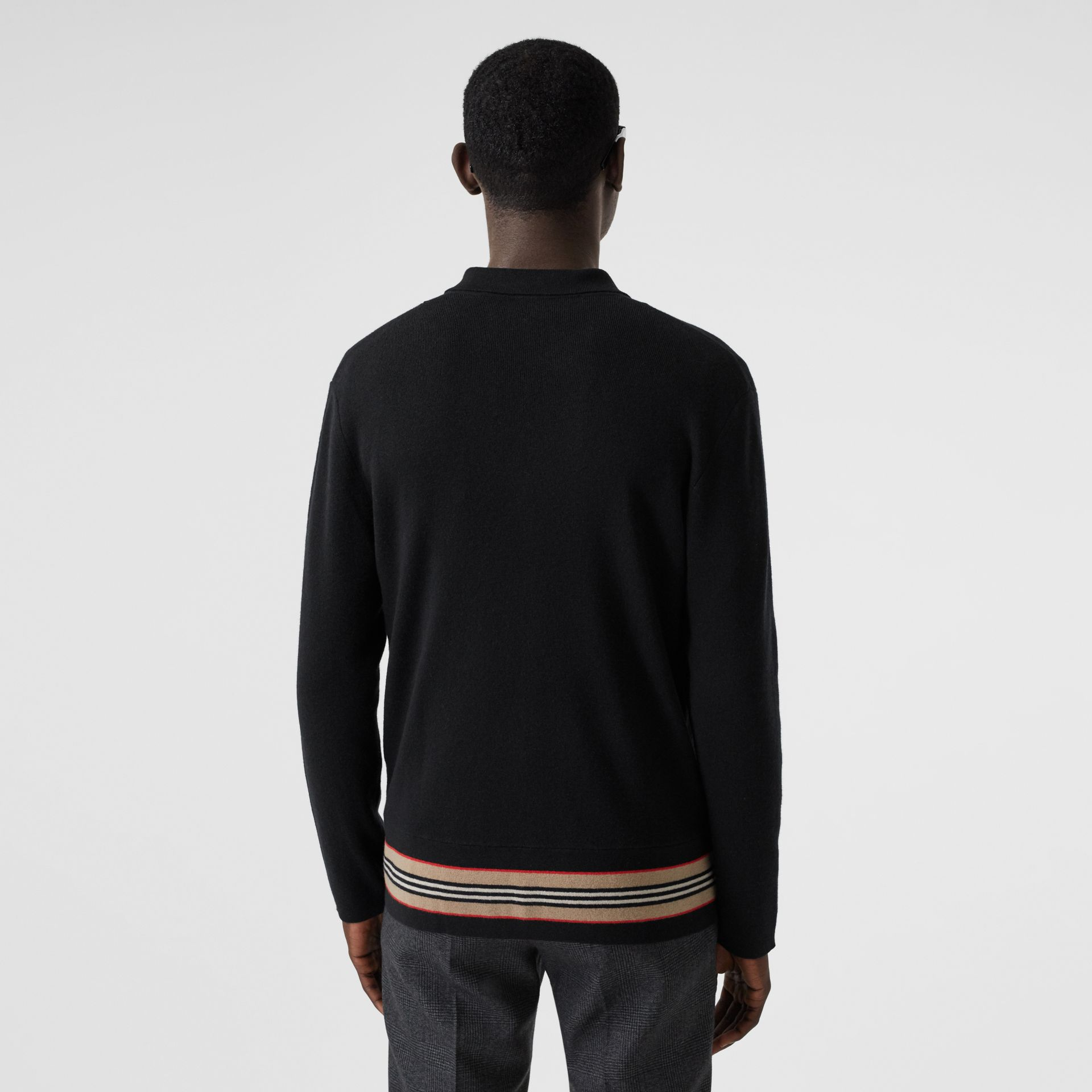 Icon Stripe Trim Wool Cashmere Cardigan in Black - Men | Burberry - gallery image 2