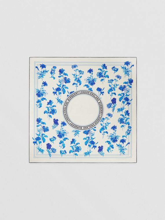 Floral and Logo Graphic Silk Square Scarf in Pale Blue