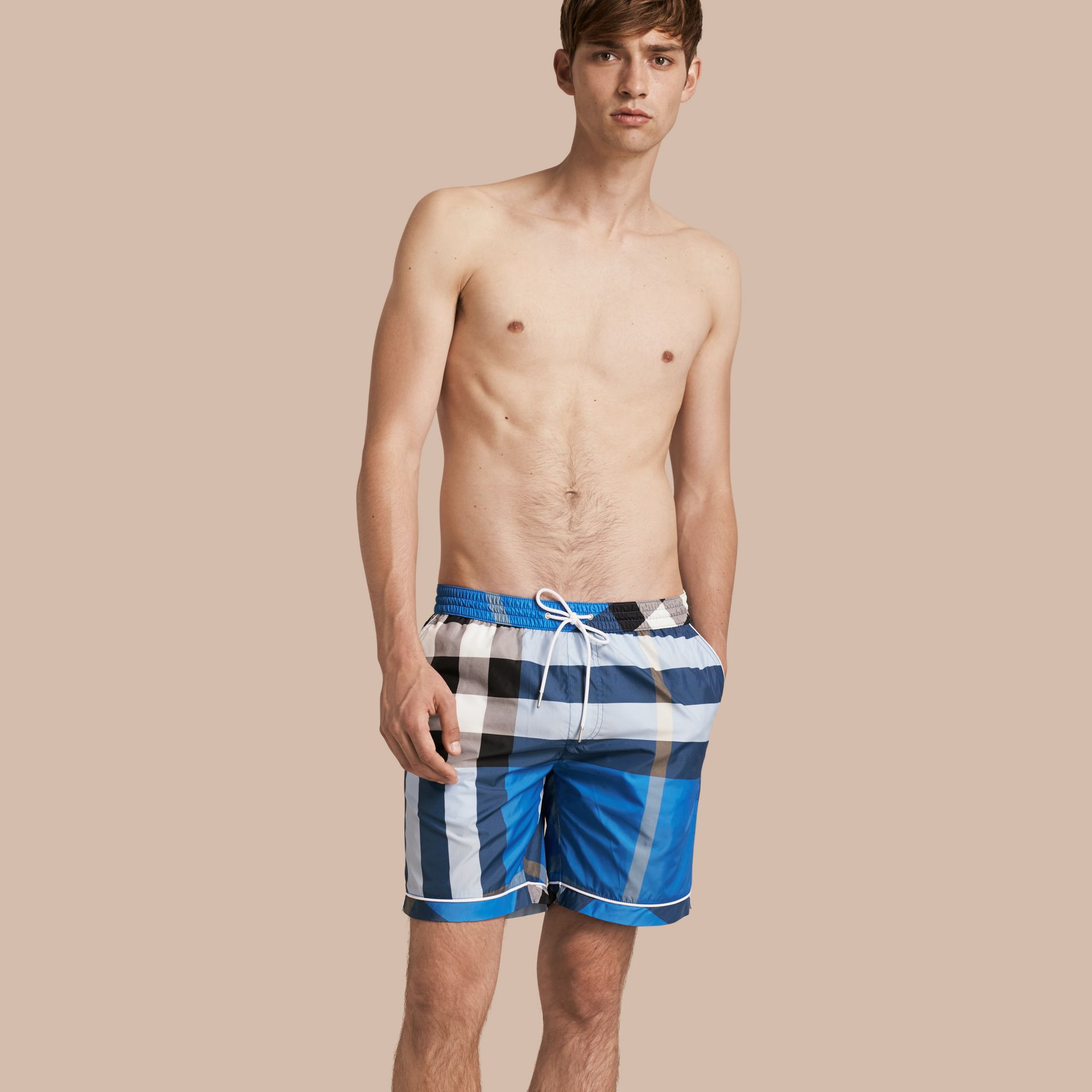 Check Print Swim Shorts with Piping Detail in Cerulean Blue - gallery image 1
