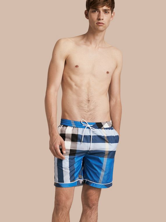 Check Print Swim Shorts with Piping Detail Cerulean Blue