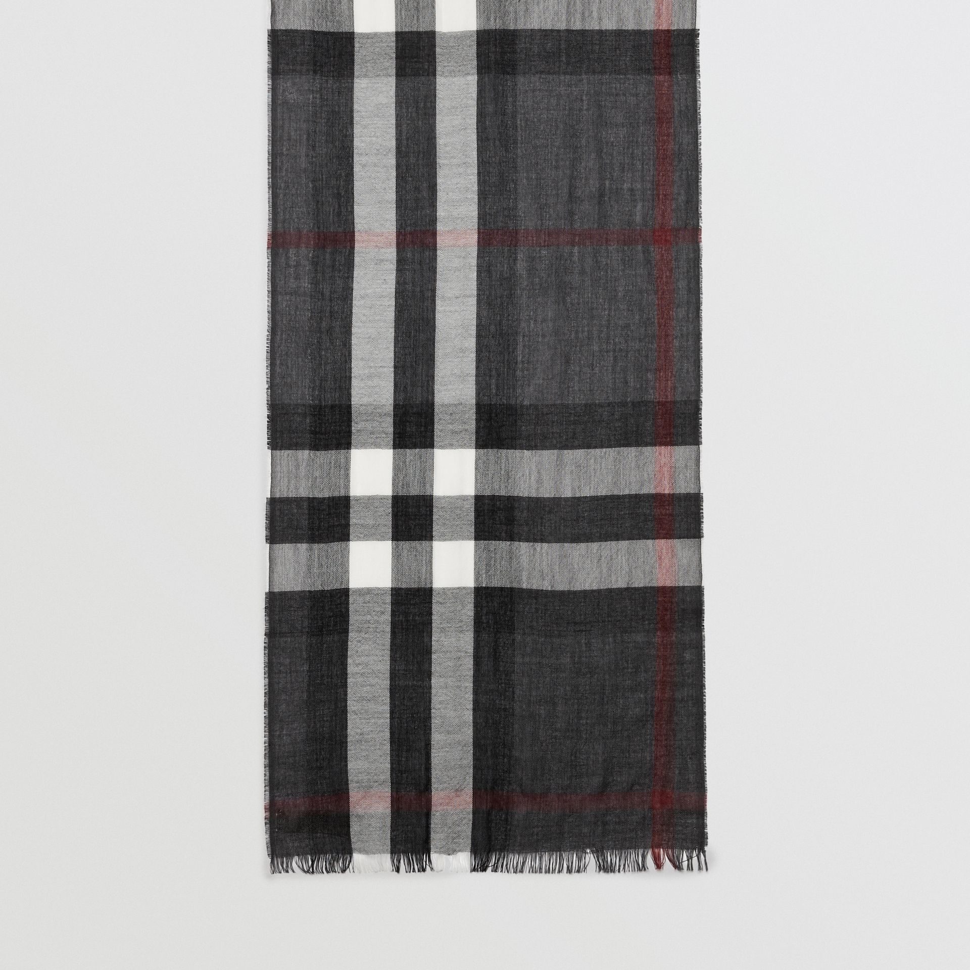 Lightweight Check Wool Cashmere Scarf in Charcoal | Burberry Australia - gallery image 4
