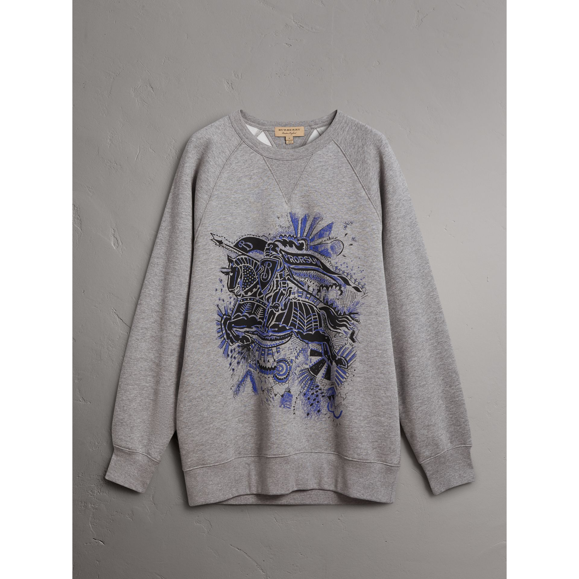 Doodle and Equestrian Knight Print Sweatshirt in Pale Grey Melange - Men | Burberry United Kingdom - gallery image 3