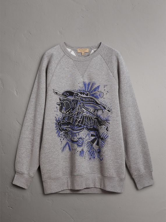 Doodle and Equestrian Knight Print Sweatshirt in Pale Grey Melange - Men | Burberry United States - cell image 3