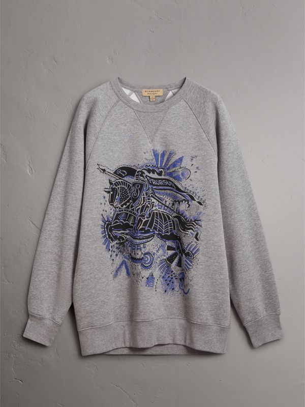 Doodle and Equestrian Knight Print Sweatshirt in Pale Grey Melange - Men | Burberry - cell image 3