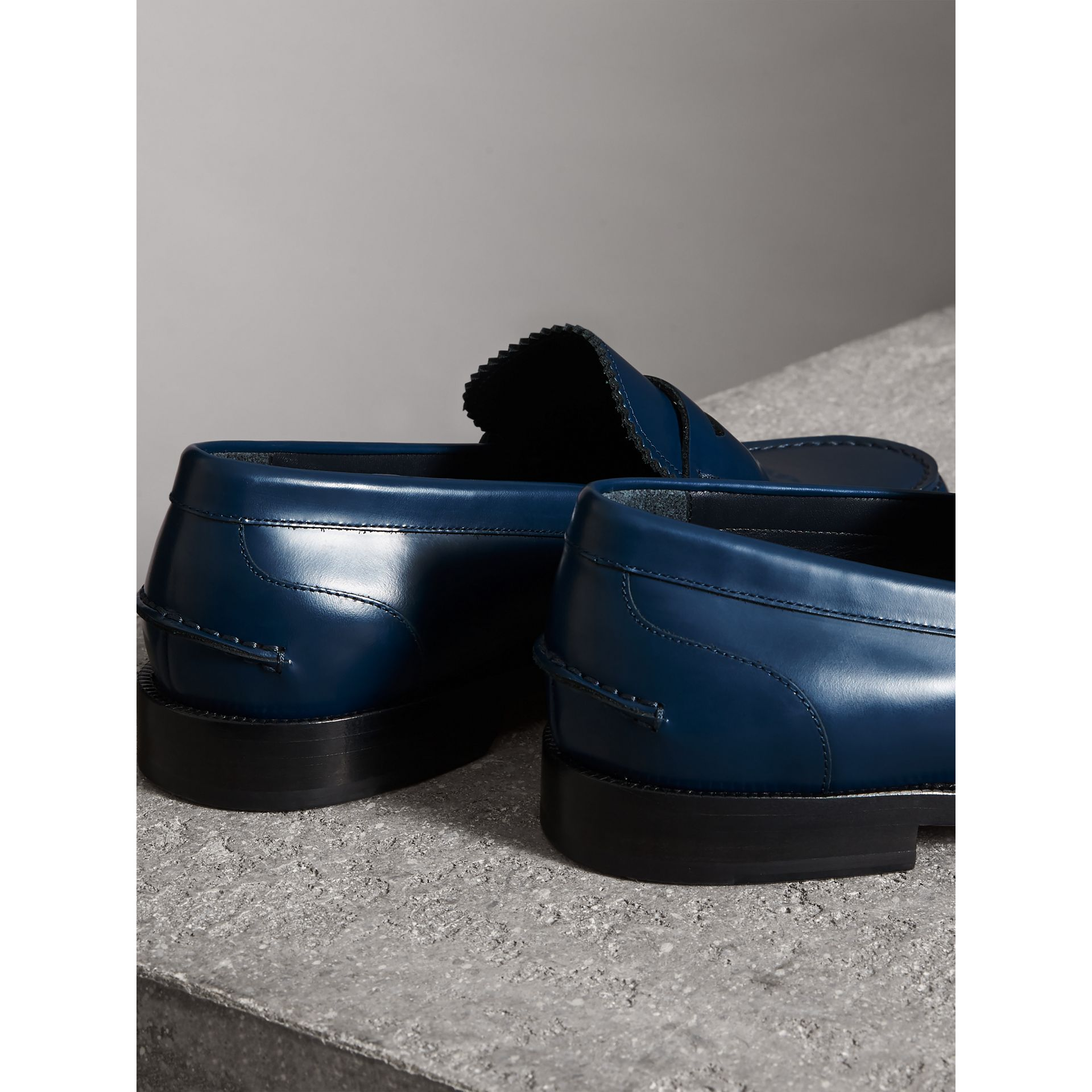 Leather Penny Loafers in Navy - Men | Burberry - gallery image 3