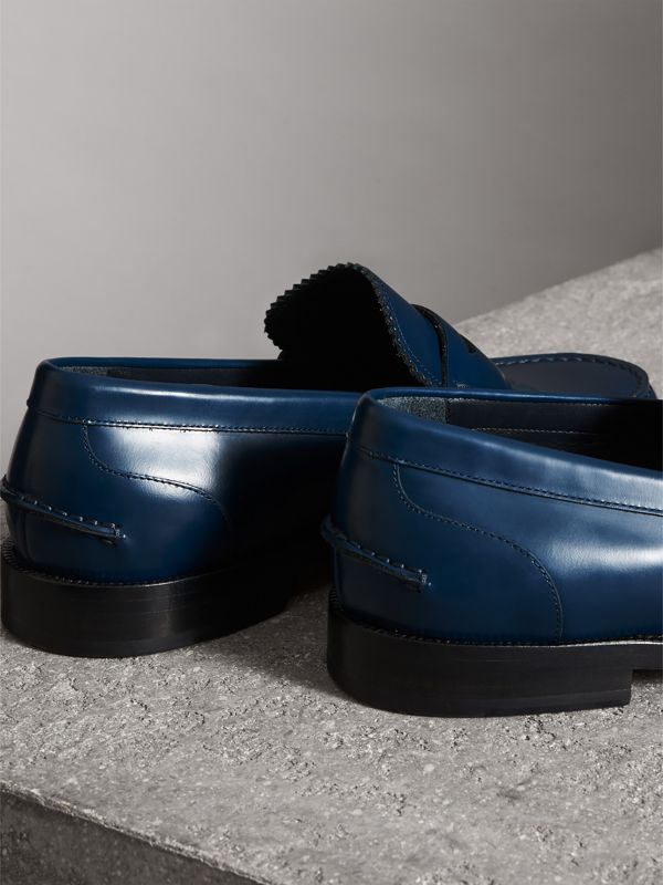 Leather Penny Loafers in Navy - Men | Burberry - cell image 3