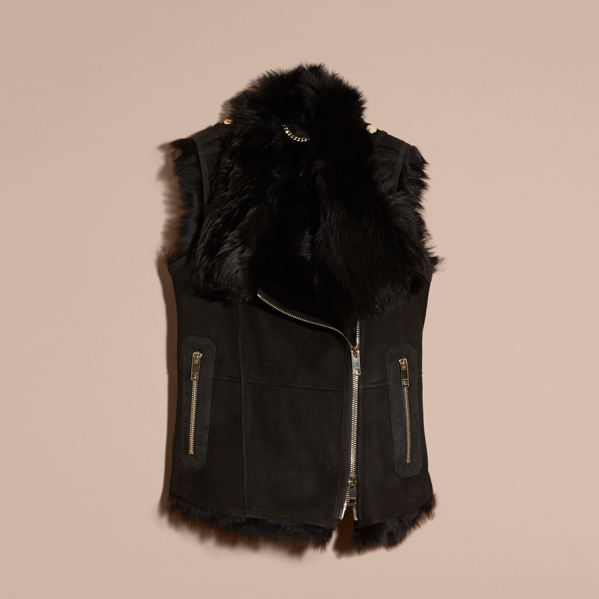 Black Shearling Gilet Black - gallery image 4