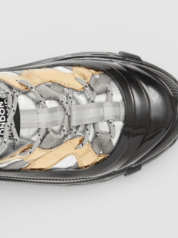 Two-tone Metallic Leather Arthur Sneakers in Silver/gold - Women   Burberry - cell image 1